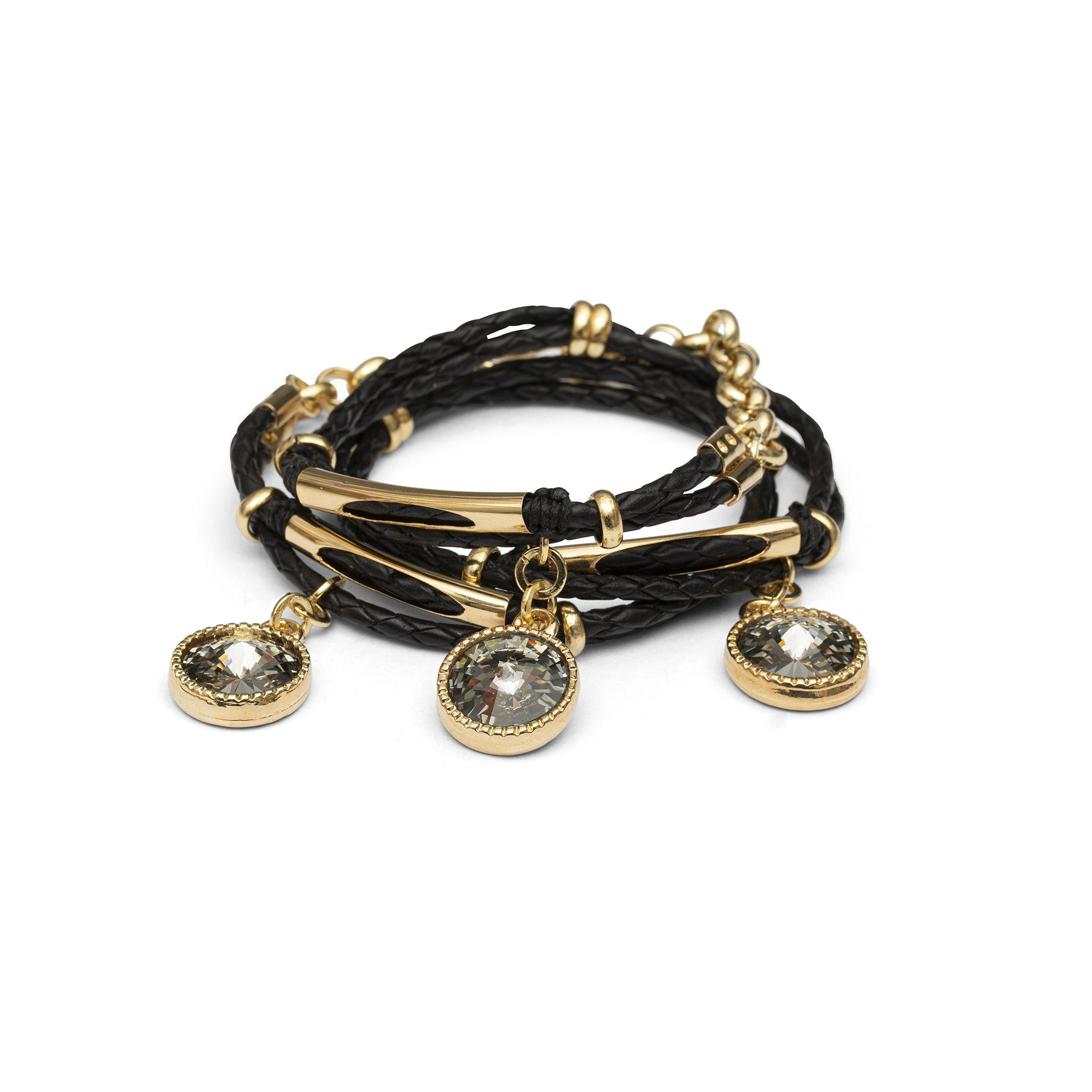 Miss Daydream Leather Bracelet - Black & Gold