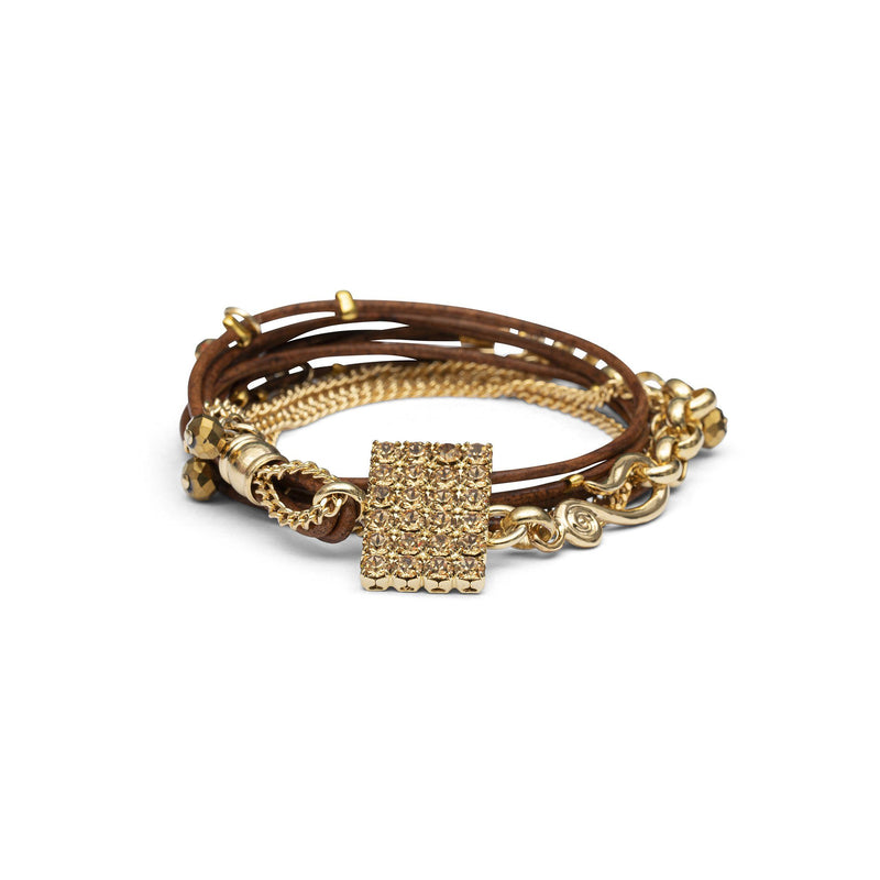 Coravana - Stargaze Leather Bracelet - Brown & Gold