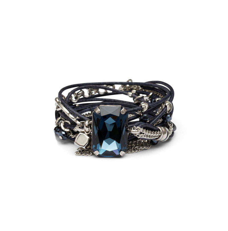 Coravana - Stardust Leather Bracelet - Blue & Silver