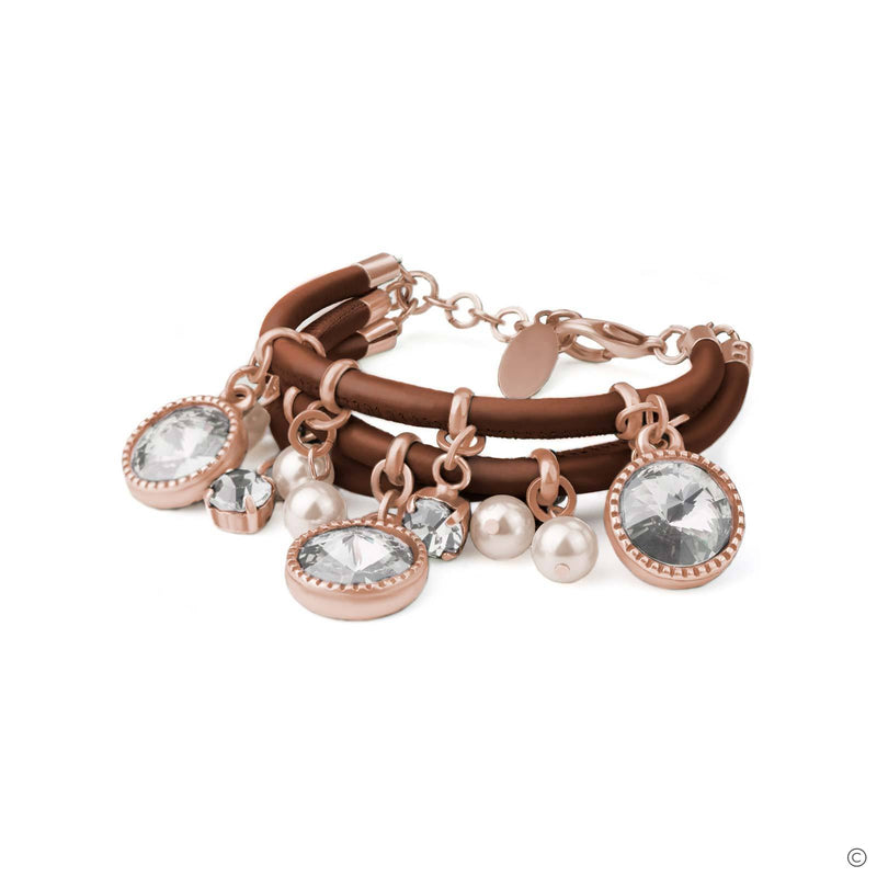 Coravana - Harmony Leather Bracelet - Brown & Rose Gold