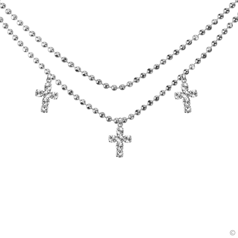 Coravana - Triplet Cross Necklace - Silver
