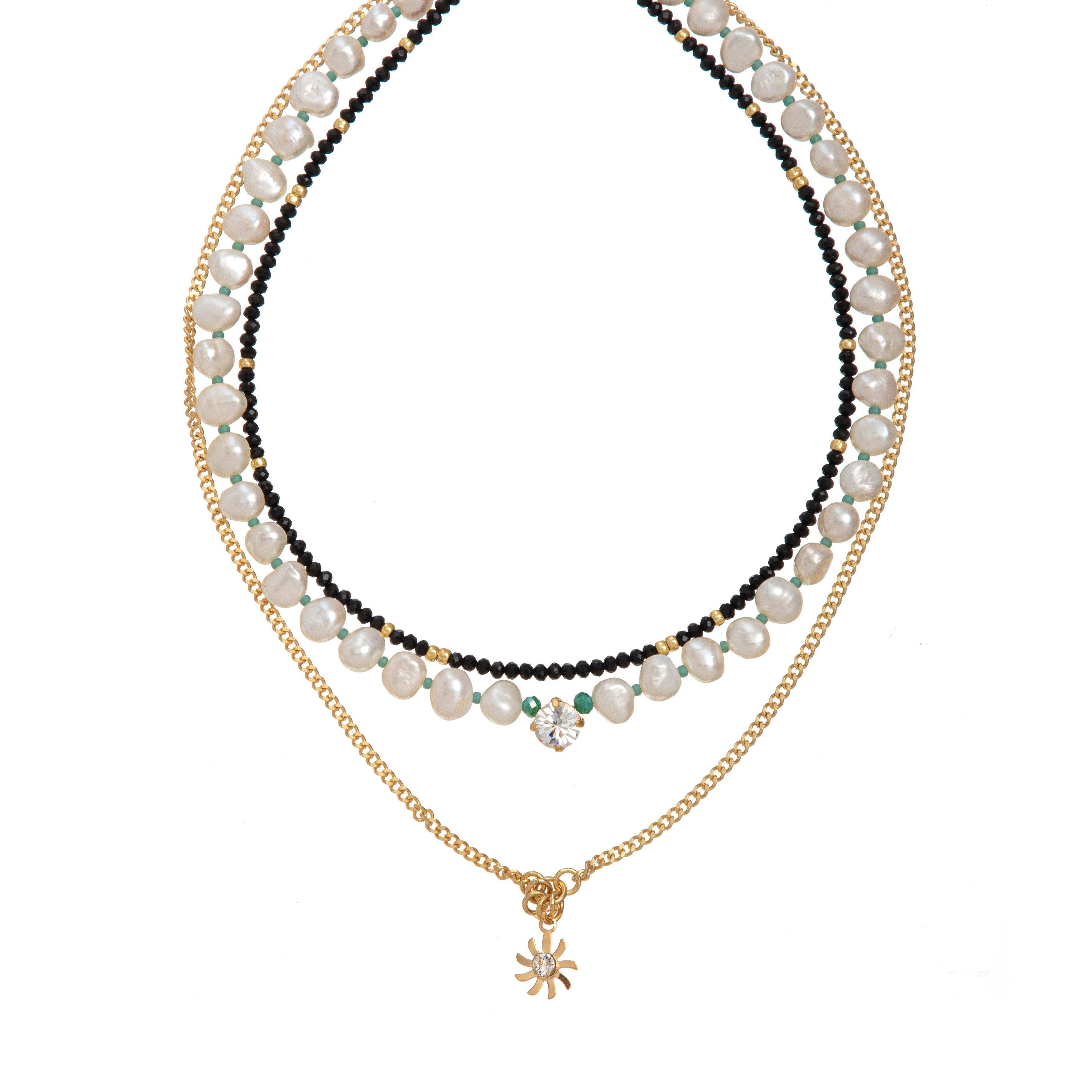 London White Necklace - Black
