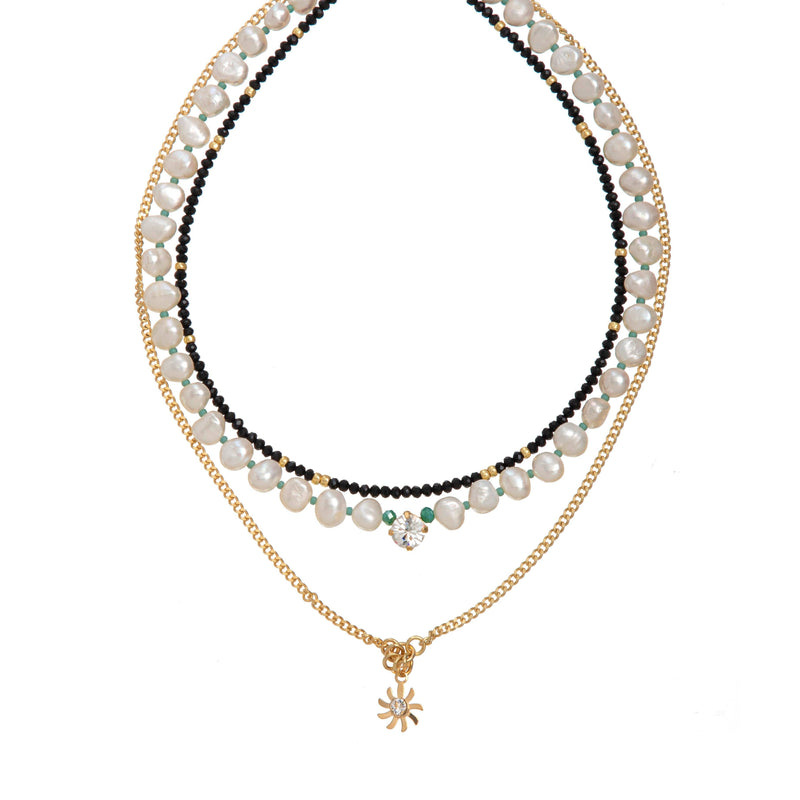Coravana - London White Necklace - Black