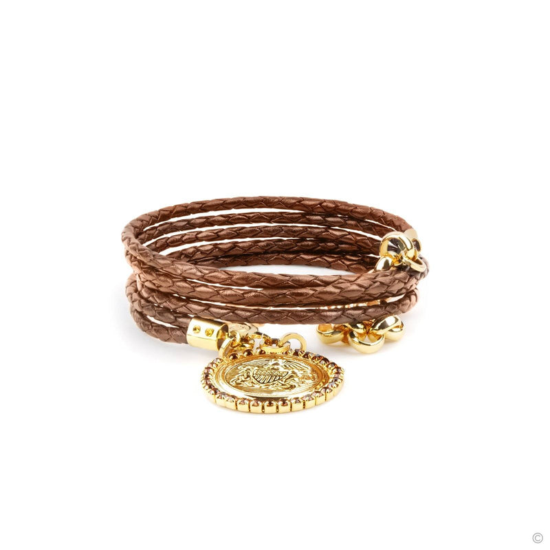 Coravana - Shield Coin Leather Bracelet - Brown