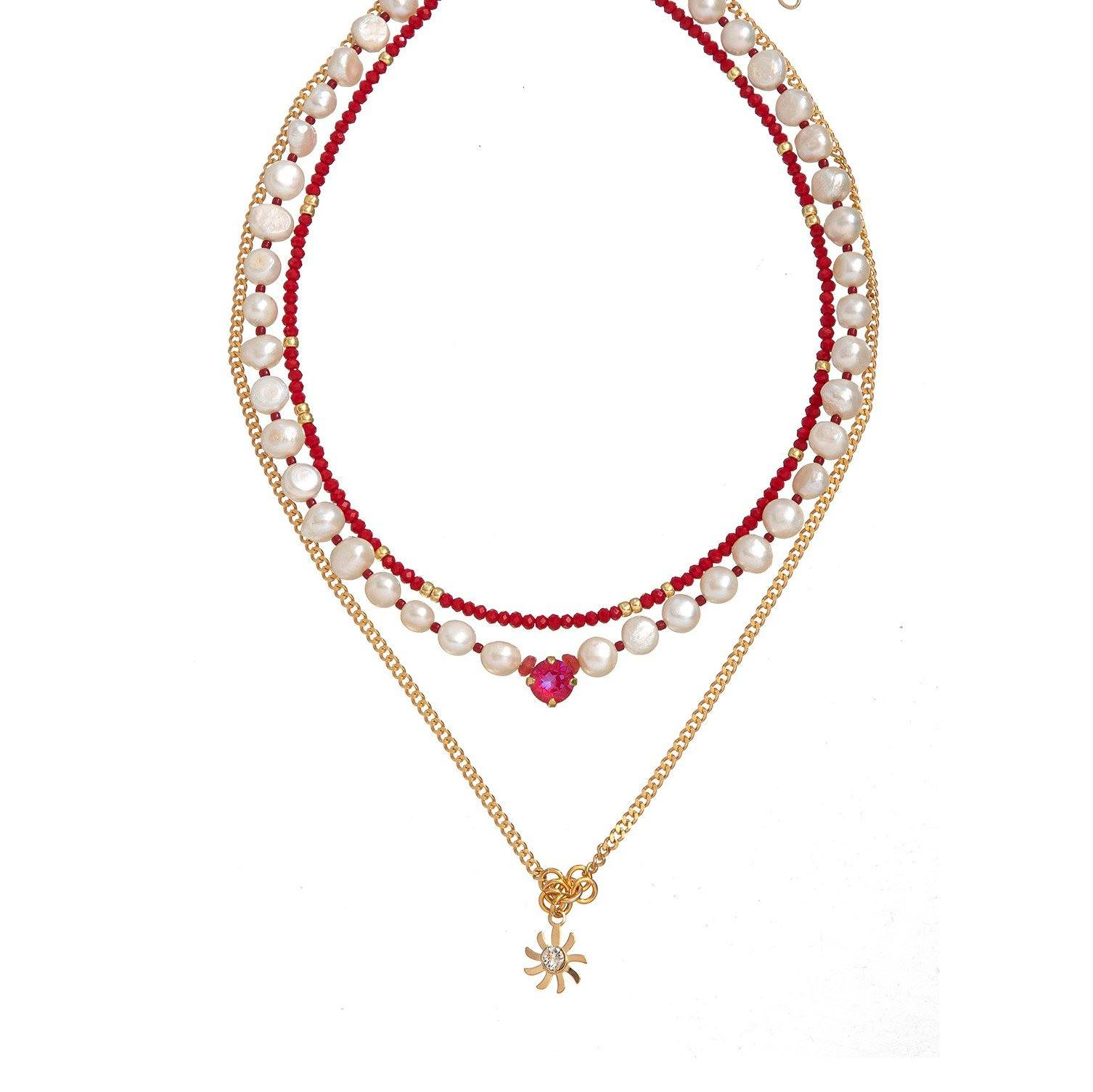 London White Necklace - Red