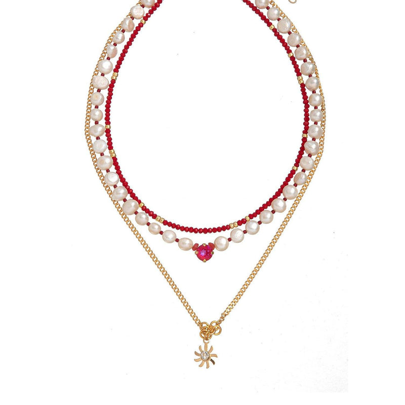 Coravana - London White Necklace - Red