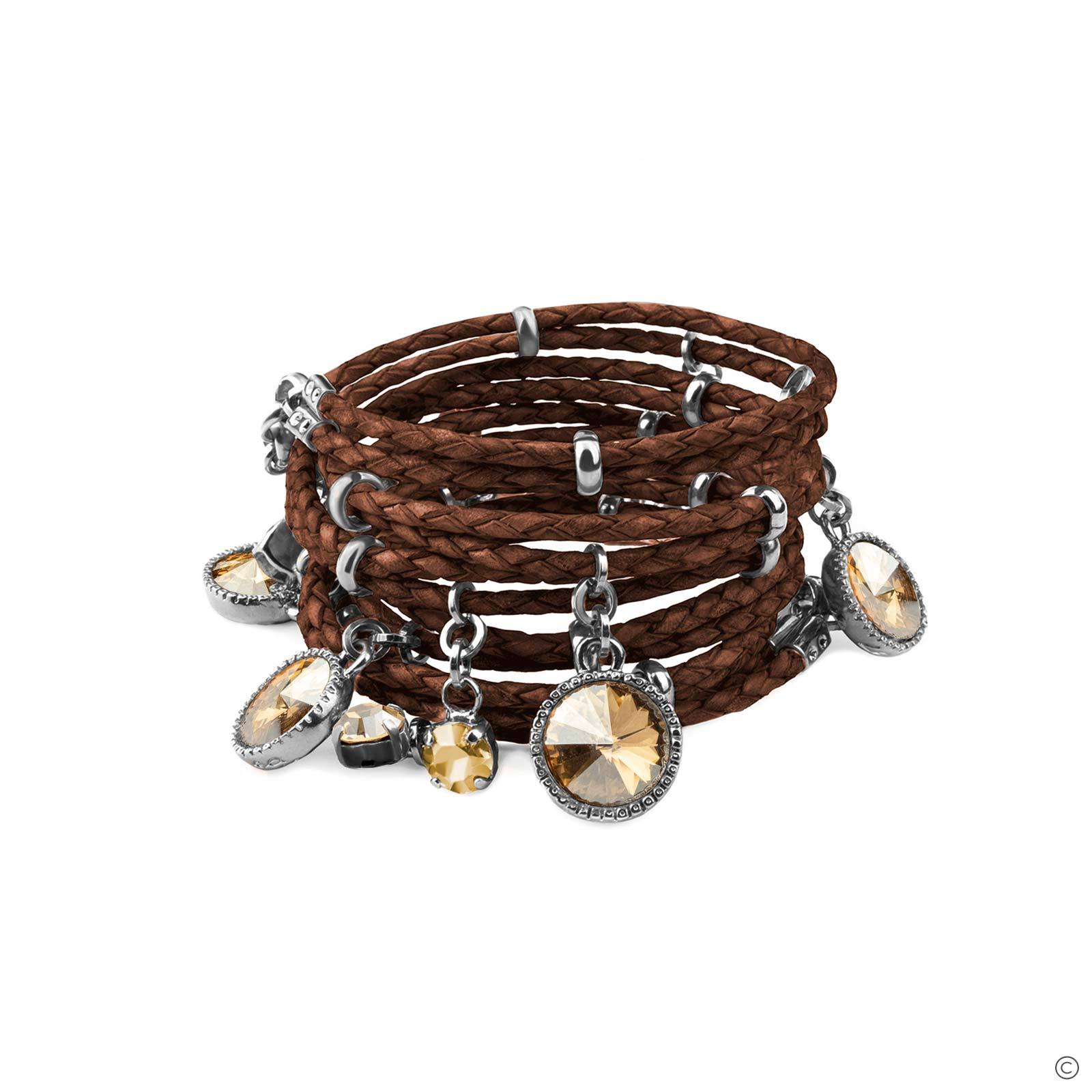 Daydream Leather Bracelet - Brown & Silver