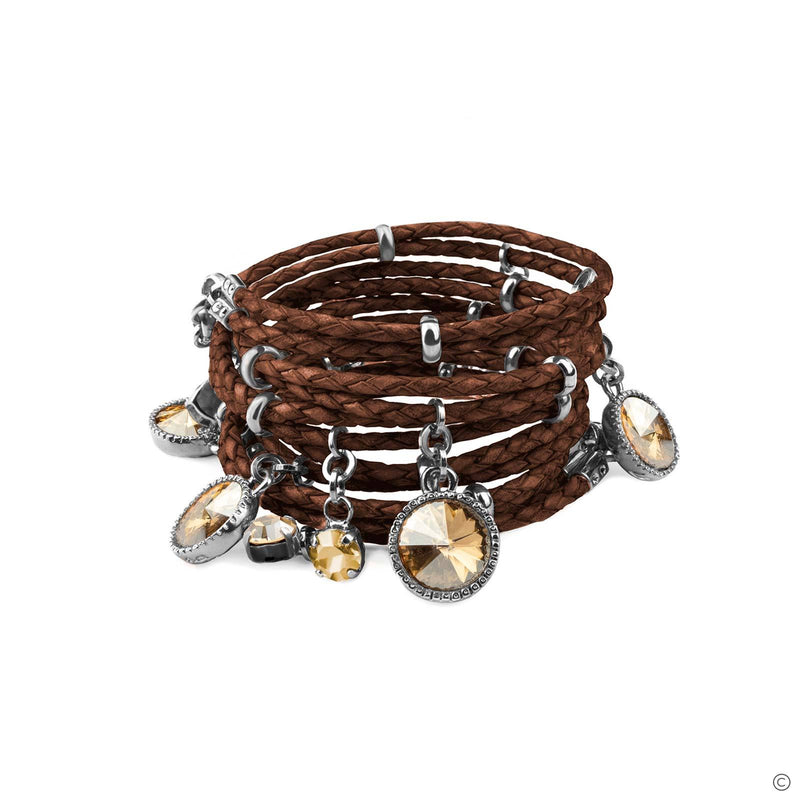 Coravana - Daydream Leather Bracelet - Brown & Silver