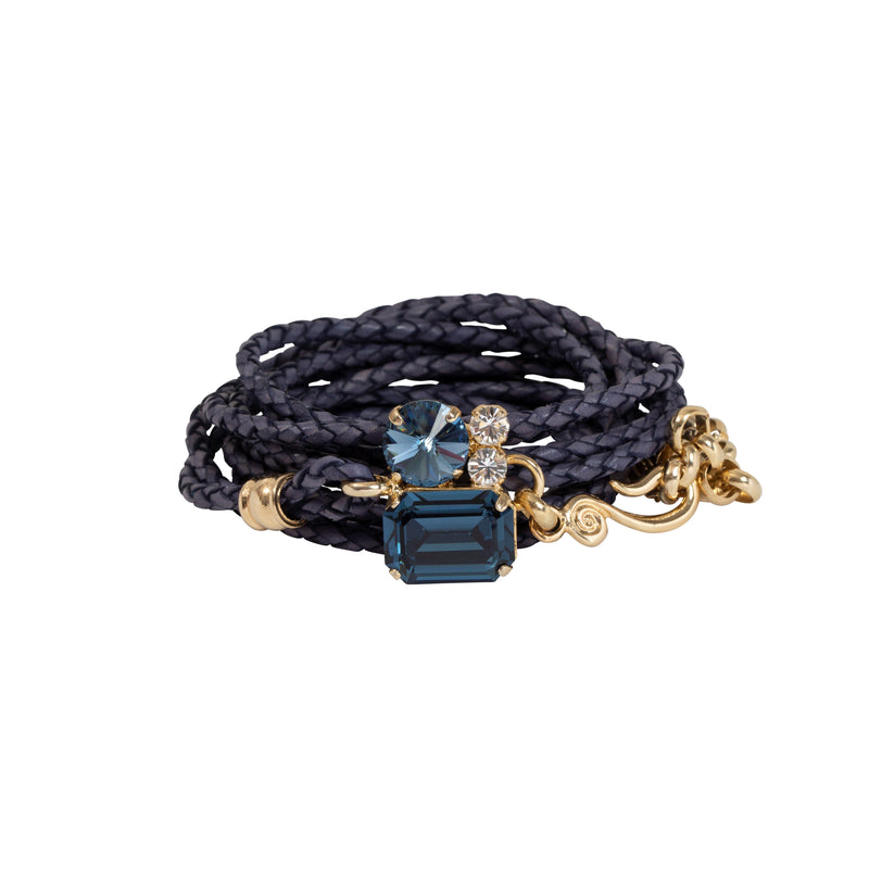 Coravana - Indigo Leather Bracelet - Rich Blue