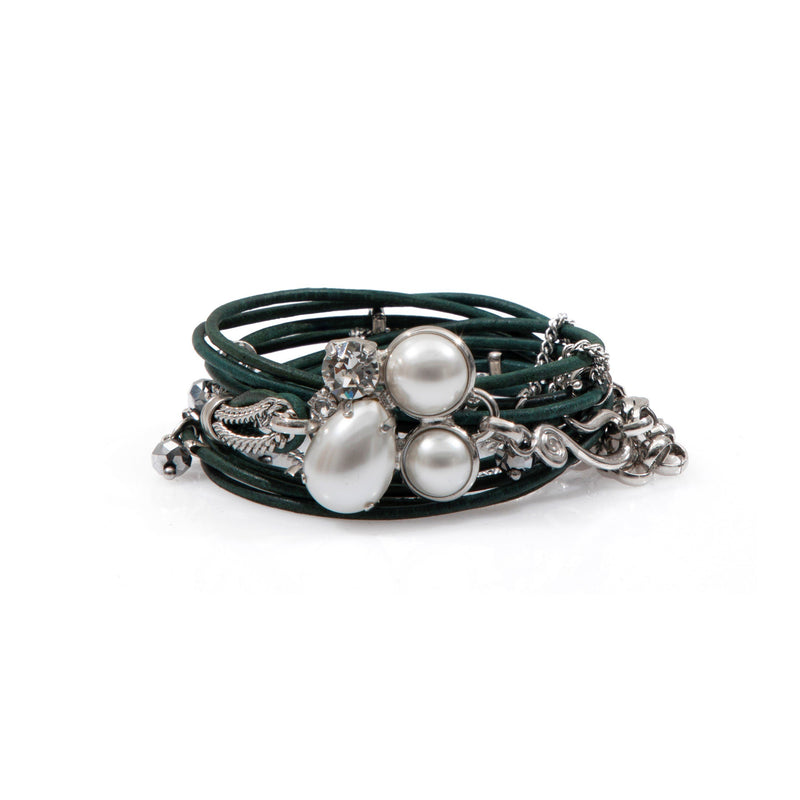Coravana - Moonlight Leather Bracelet - Forest Green