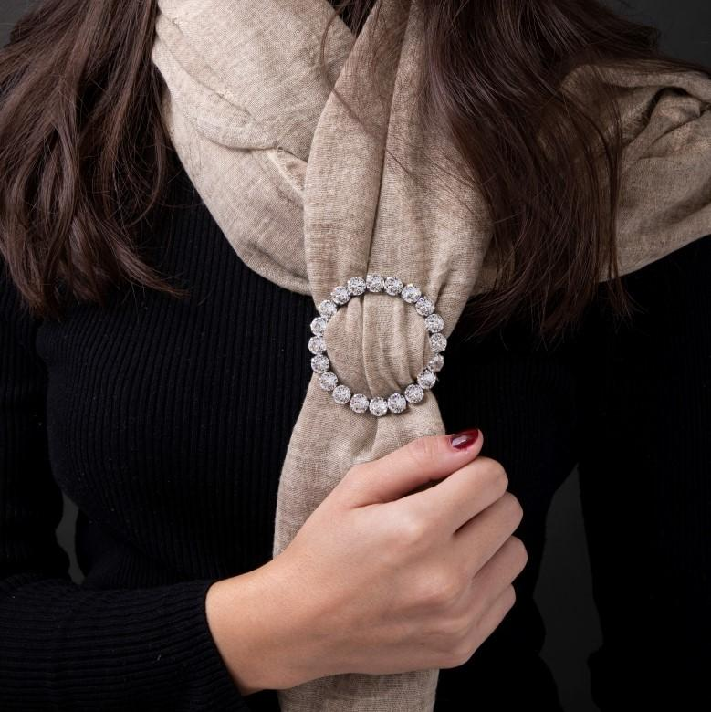 Crystal Scarf Ring - Small Silver Circle