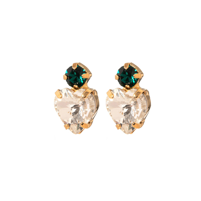 Coravana - Crystal Heart Earrings - Emerald