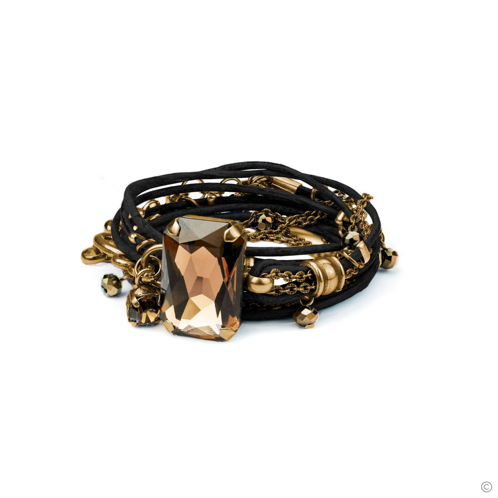 Stardust Leather Bracelet - Black & Gold