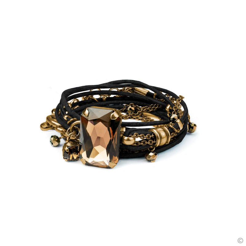 Coravana - Stardust Leather Bracelet - Black & Gold