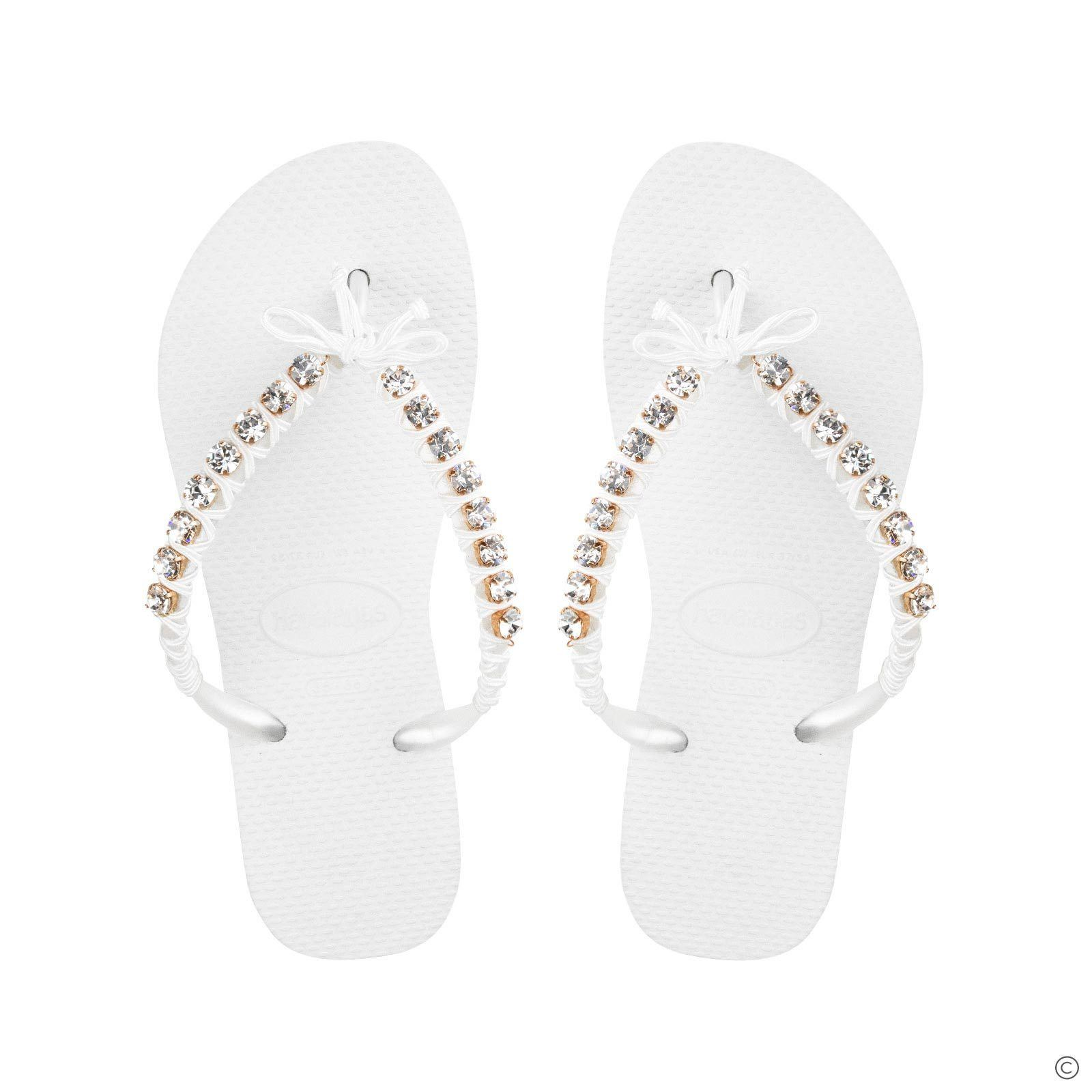 Crystal Flip Flops - White Diamond