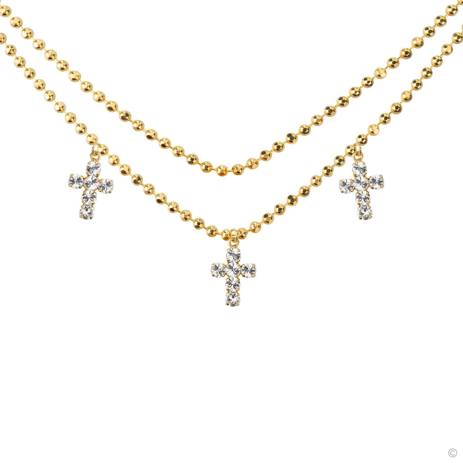 Triplet Cross Necklace