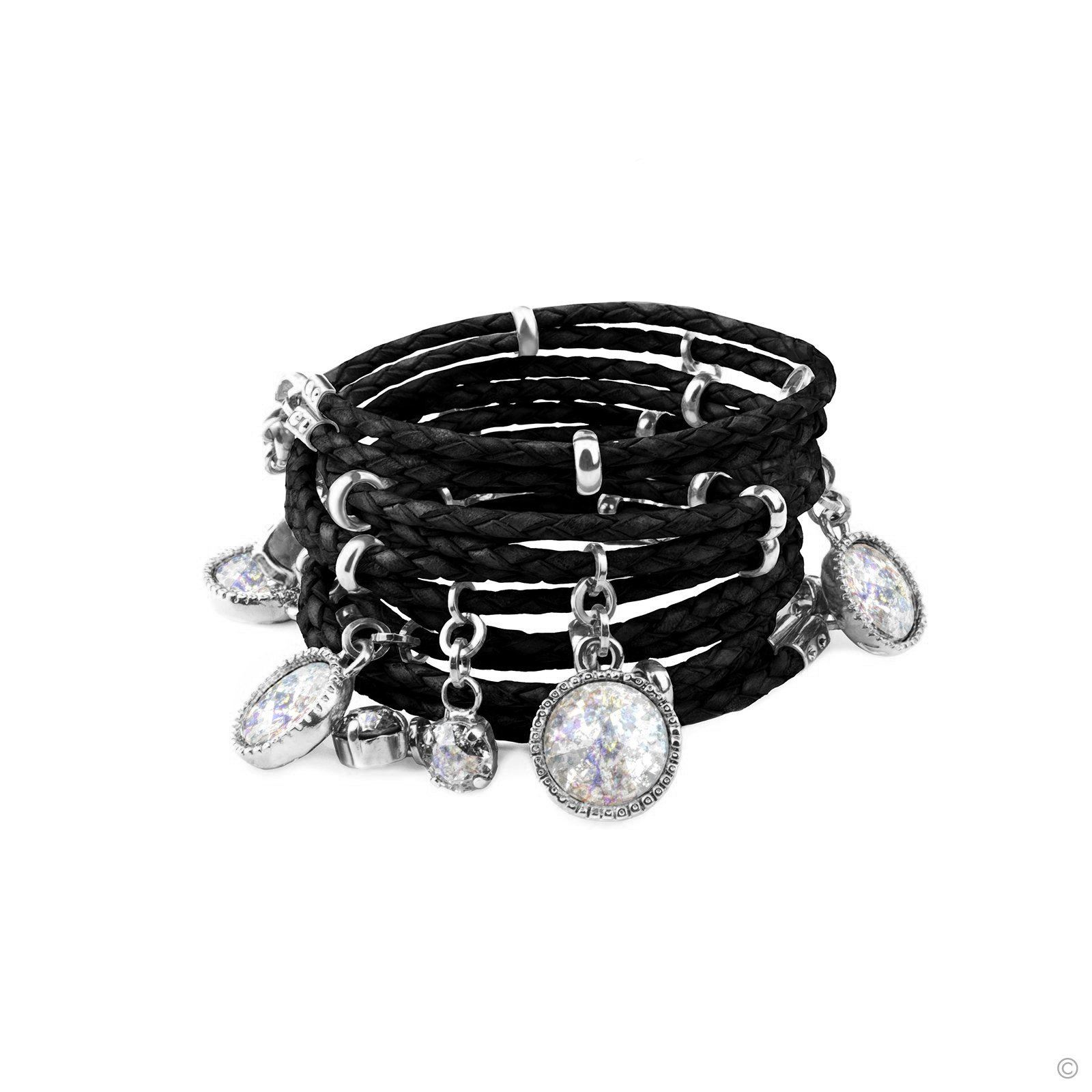Daydream Leather Bracelet - Black & Silver