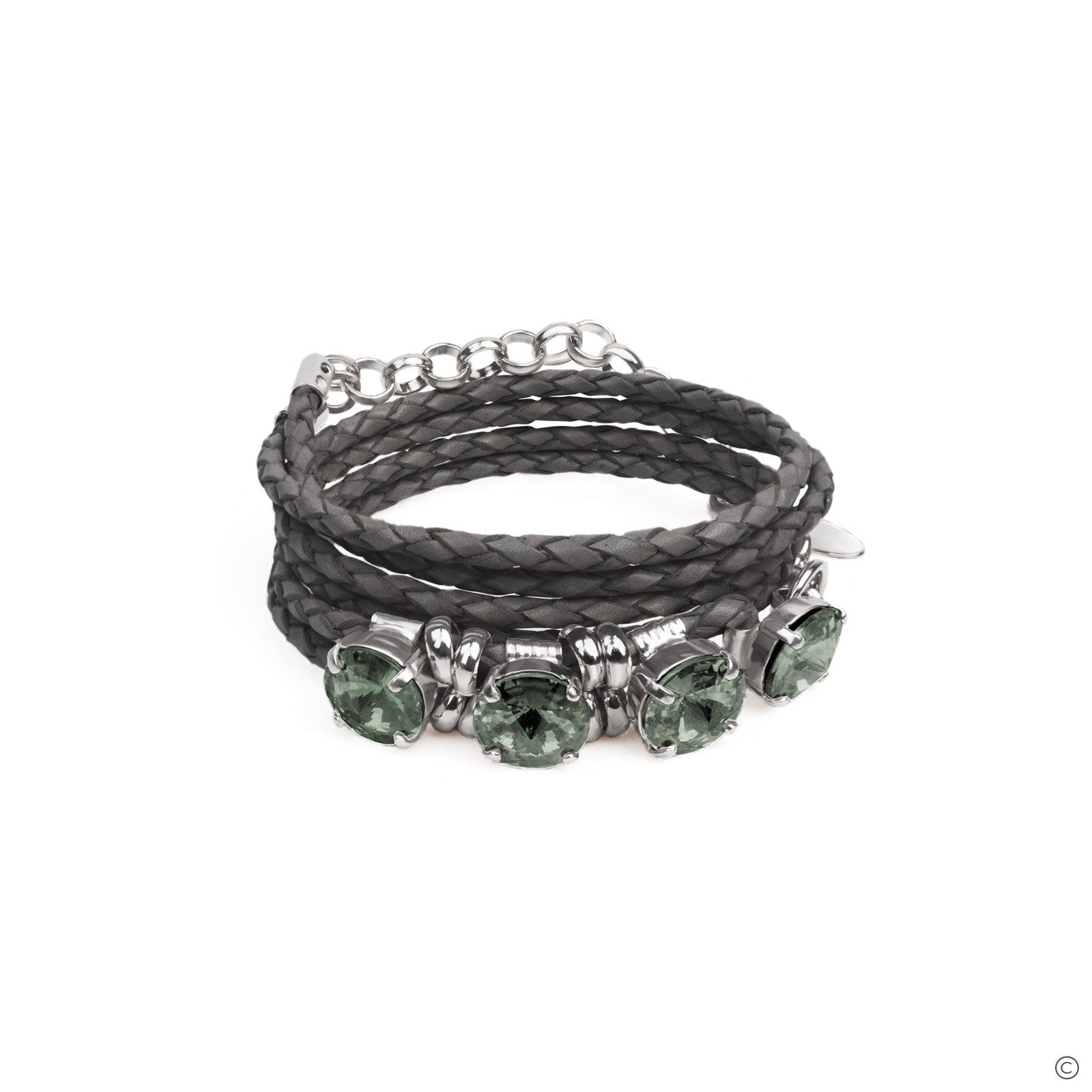 Gemstone Leather Bracelet - Gray & Silver
