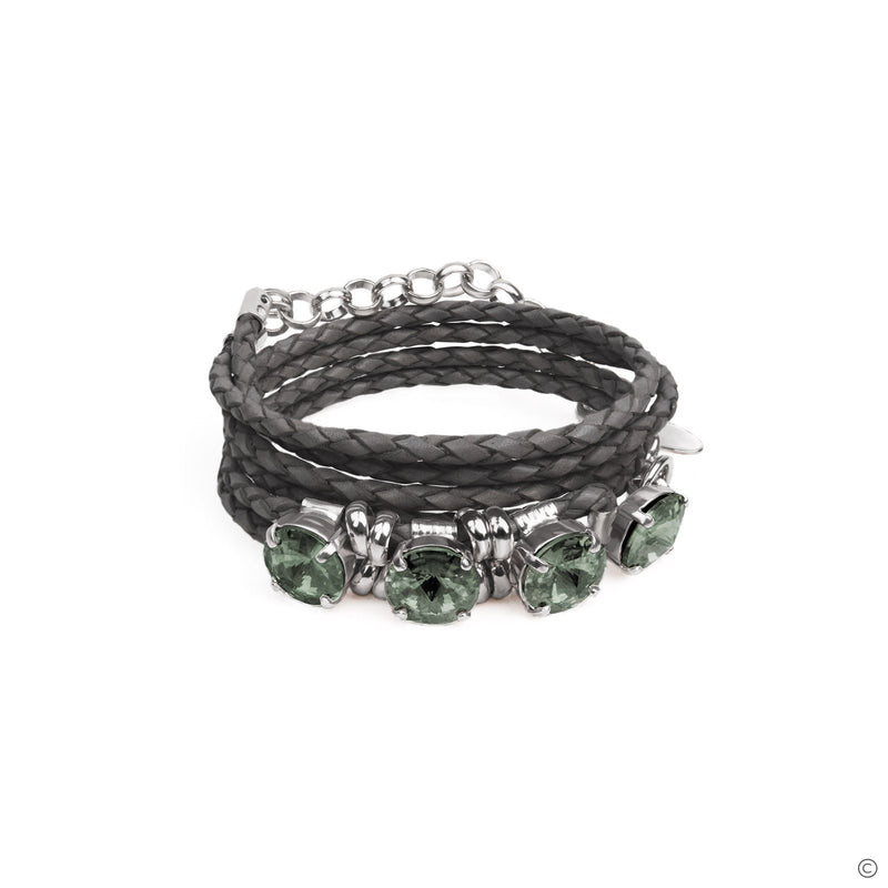 Coravana - Gemstone Leather Bracelet - Gray & Silver