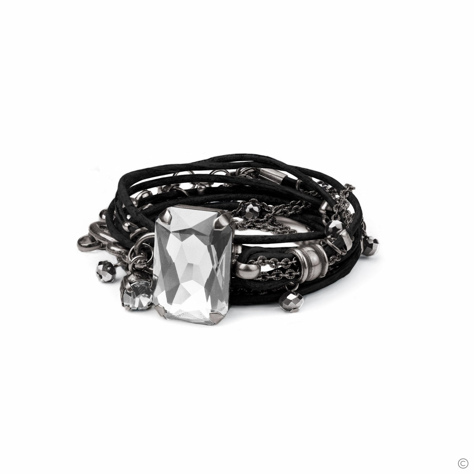 Stardust Leather Bracelet - Black & Silver