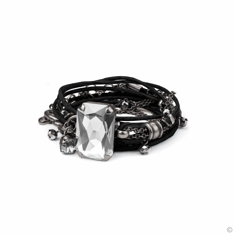 Coravana - Stardust Leather Bracelet - Black & Silver