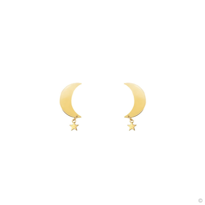 Coravana - Moon and Star Stud Earrings