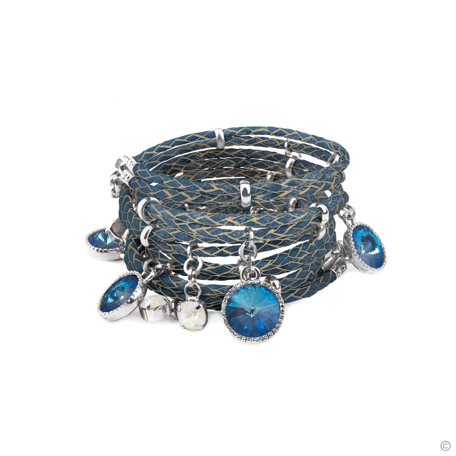 Daydream Leather Bracelet - Ocean Blue & Silver