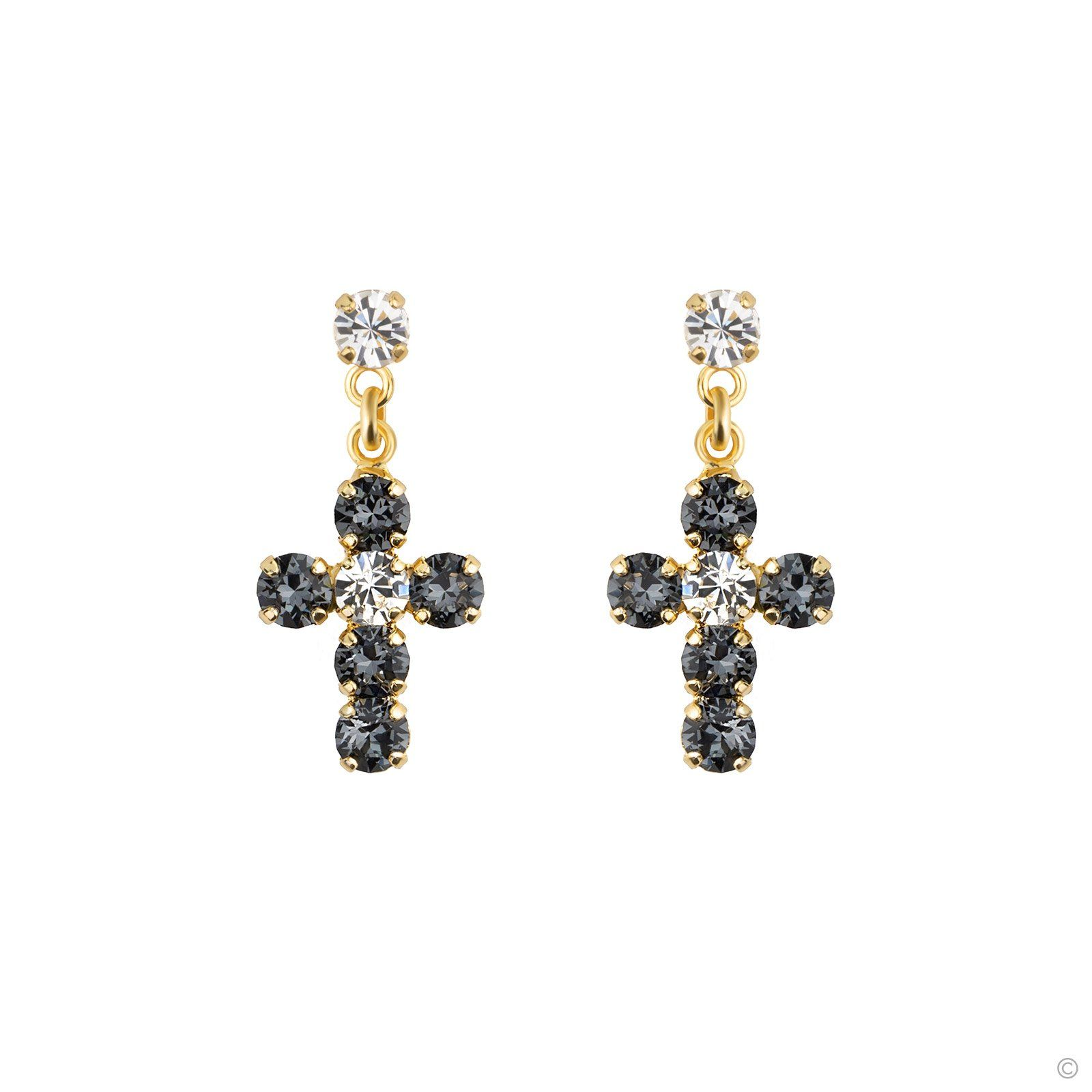 Crystal Cross Earrings Grayish