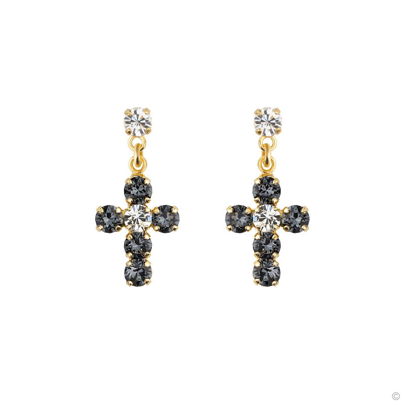 Coravana - Crystal Cross Earrings Grayish