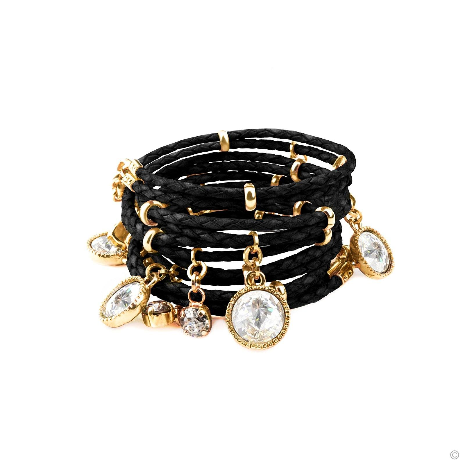 Daydream Leather Bracelet - Black & Gold