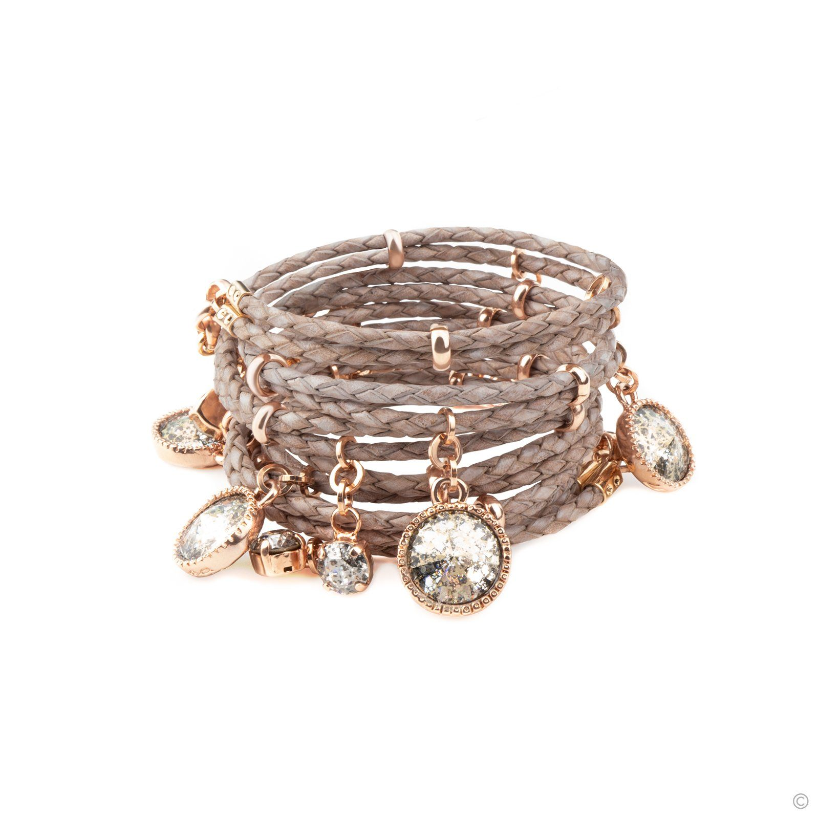 Daydream Leather Bracelet - Taupe & Rose Gold