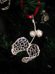 Mistletoe Keepsake Christmas Decoration in fine silver and pearl