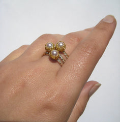 Baya Stacking Ring in Silver, Gold and Freshwater Pearl