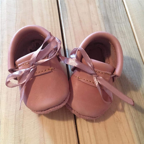 lillie and me leather baby shoes baby mocs doll shoe pink