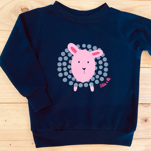 Girls Sheep | Navy Sweater