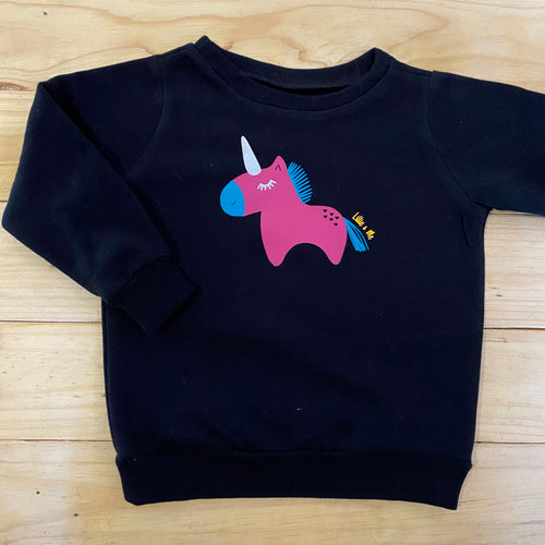 Girls Unicorn | Black Sweater