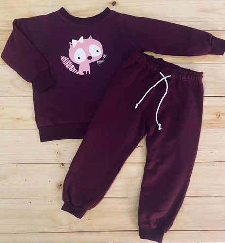 Girls Kitty | Maroon Set