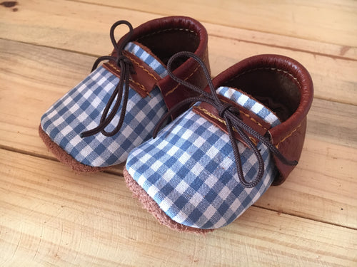 lillie and me leather baby shoes baby mocs blue check boys