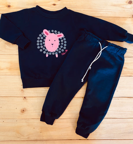 Girls Sheep | Navy Set