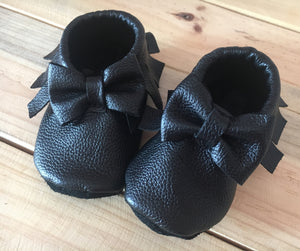 lillie and me leather baby shoes baby mocs black