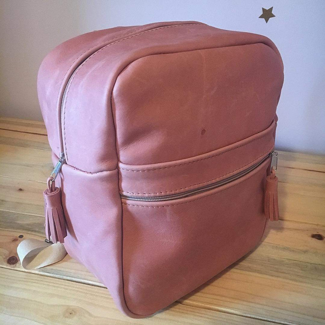 Leather Kids Backpack | Pink