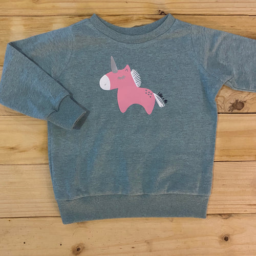 Girls Unicorn | Duck Egg Sweater