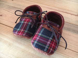 lillie and me leather baby shoes baby mocs boys navy check