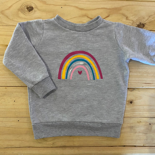 Girls Rainbow | Grey Sweater