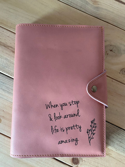 A4 Leather Diary Cover | Pink