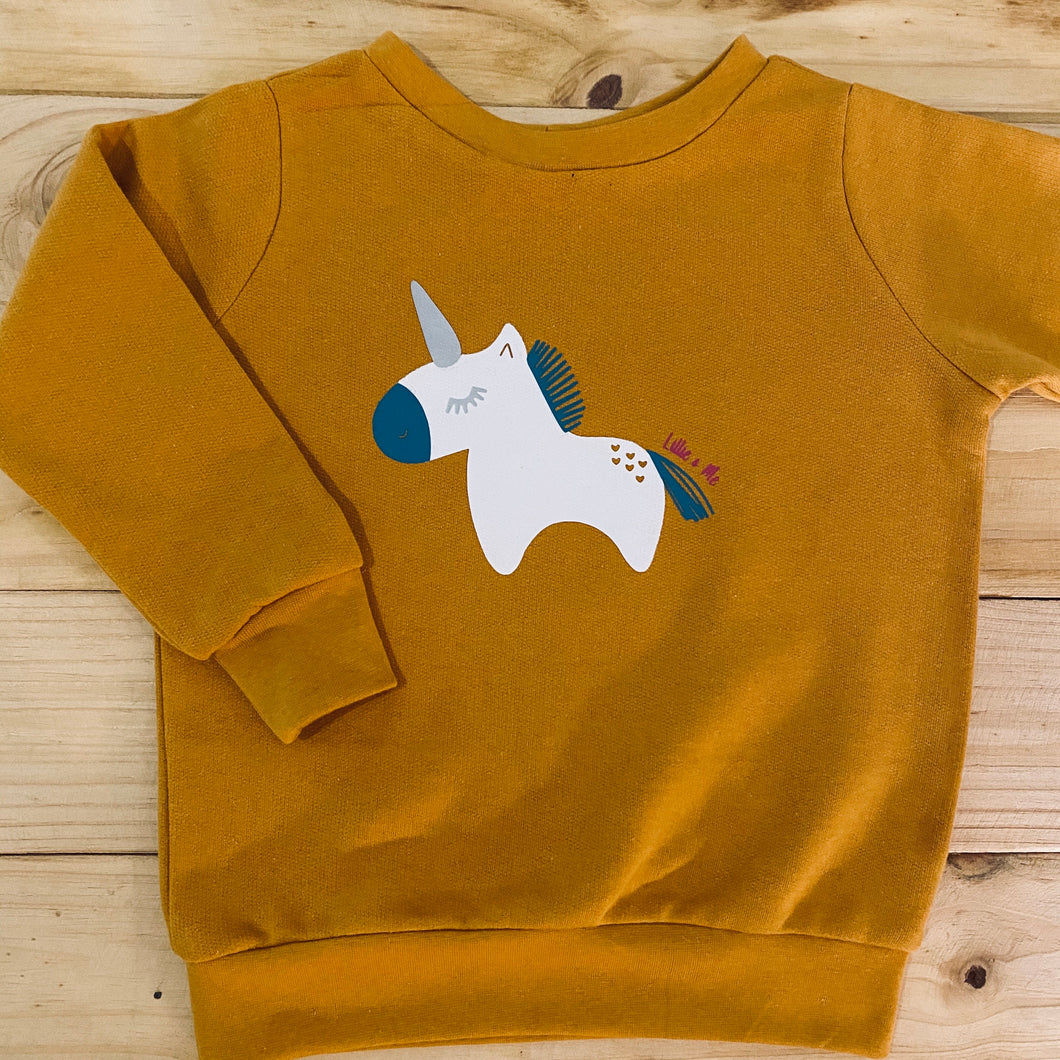 Girls Unicorn | Mustard Sweater