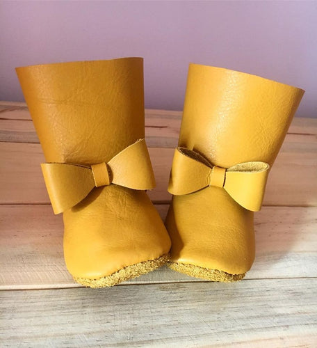 lillie and me baby shoes baby boots mustard