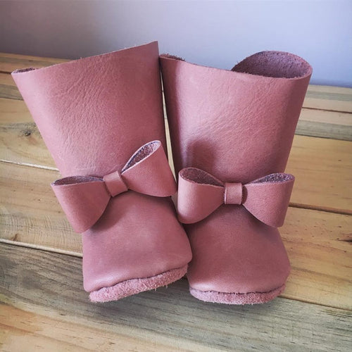 lillie and me baby shoes baby boots pink