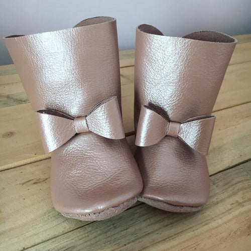 lillie and me leather baby shoes baby boots rose gold