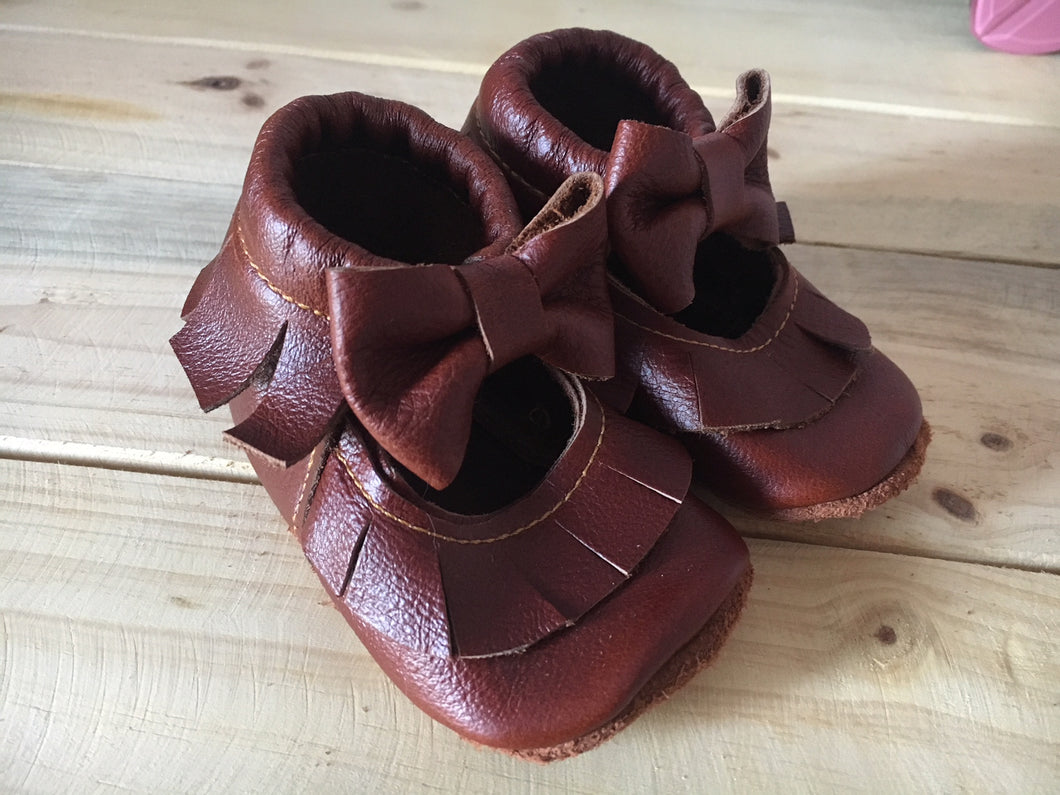 lillie and me leather baby shoes baby pumps brown